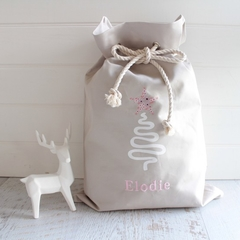 Personalised Santa Sack Natural Tree with Flower Star