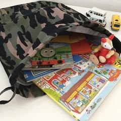 'GREEN CAMO' Drawstring Bag / School Library or Kindy Sheet Bag