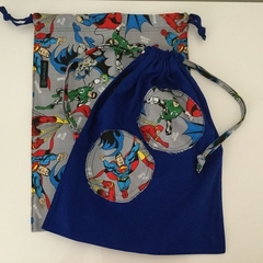 PERFECT PAIR 'SUPERHEROES & BLUE PATCH' Drawstring / Library / Sheet Bags