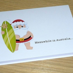 Merry Christmas card - Surfing  Santa