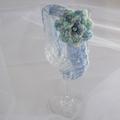Crochet blue headband & flower + bead; 3-18 months baby toddler gift; photo prop