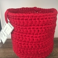 CLEARANCE****Crochet Basket Set -Ruby Red - Medium & Large