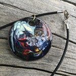 Retro style enamel pendant (unique).