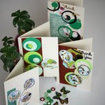 Gift Tin Card Making Kit- Makes 8 Green Circle cards for any occasion