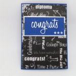 Graduate Congratulations Card - Black and White, Blue/Red, Gender neutral