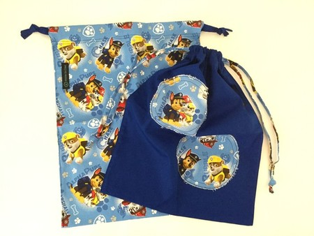 PERFECT PAIR 'PAW PATROL & BLUE PATCH' Drawstring / Library / Sheet Bags
