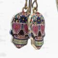 Mandala Skull Charm & Brass Earrings