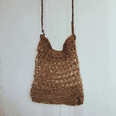 Jute String Bag with Leather Strap
