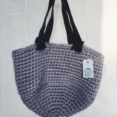 Soft Grey and Repurposed Leather Handbag