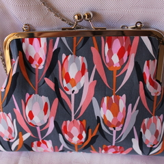 Protea Clutch bag with detachable shoulder chain