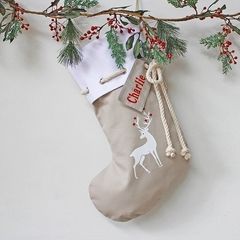 Personalised Christmas Stocking in stone with Reindeer