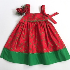 Size 2 - Red with Green Spots Christmas Dress