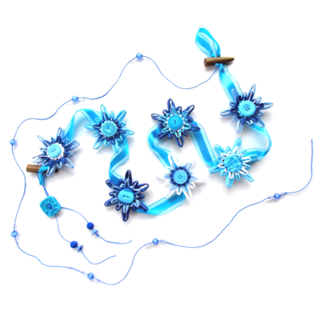 Paper Raffia Snowflake Garland Wall Hanging Decoration Blue White Winter Decor