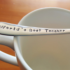 World`s Best Teachers,Teacher Gift,Teacher Thank you, Hand Stamped Spoon,