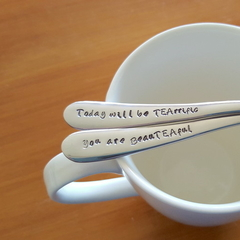 You are beauTEAful, Today will be TEArrific Hand Stamped Spoons, Tea pun gift