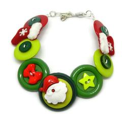 Christmas button Bracelet - Santa's Boots