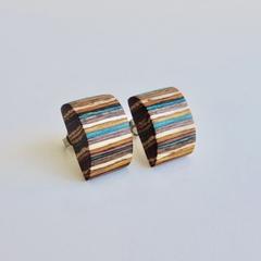 Eco Stylish Blue Yellow Stripe Wooden Earrings