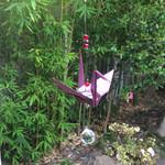 Anna Japana original design Origami paper crane suncatcher, plum flower,