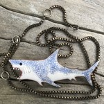 Enameled hungry shark pendant.
