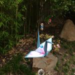 Anna Japana original design Origami paper crane suncatcher, cherry blossom