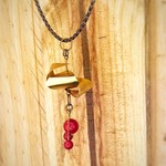 Worked Brass & Red Bead leather necklace
