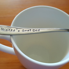 World`s Best Dad ,Dad Gift, Fathers Day, Dad`s Christmas,Teaspoon,Hand Stamped,