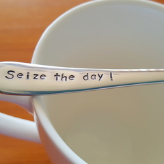 Seize the Day,Tea Pun, Coffee Pun,Hand Stamped,Coffee Gift, Carpe diem