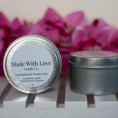 Soy Candle Silver Tin Hand Poured 35+ Hours Burn Time