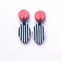 Stripe and cross oval drop coral black and white polymer clay earrings