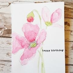 Birthday Card - Red Poppy