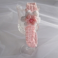 Crochet pink headband, white flower & pearl bead, Easter birthday gift 1-5+ yrs