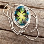 """From the dark"" Cloisonné enamel pendant on silver."