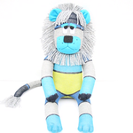 'Lawson' the Sock Lion - turquoise grey navy and lime - *READY TO POST*