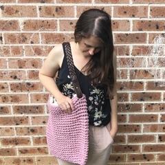 Dusk Pink Chunky Crochet Bag