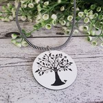 Tree of Life Pendant - Black & White - Laser Etched Button - Soft Cord
