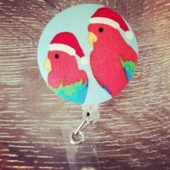 Button ID Badge Reel - Christmas Parrots #1