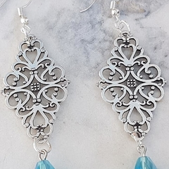 Filigree Metal Connector Earrings with Glass