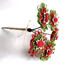 Rustic Twine Blossom Christmas Floral Stem Bouquet Vase Decoration Red