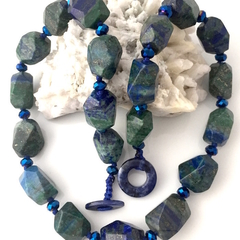 Natural Azurite Chrysocolla Gemstones, Green Cyan Goddess Necklace.