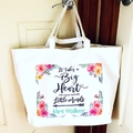 Personalised name teacher gift white canvas tote bag