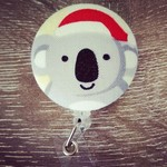 Button ID Badge Reel - Christmas Koala #1