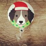 Button ID Badge Reel - Christmas Dog #1