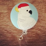 Button ID Badge Reel - Christmas Cockatoo #1