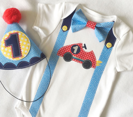 Racing Car Number 1 Onesie First birthday Boy Red Car