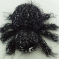 Small Kitten & Spider soft toy set. Cuddly, fluffy black & grey.
