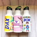 Personalised name with picture kids metal drink bottle great for school or home