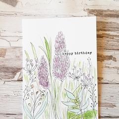 Birthday Card - Purple Fields