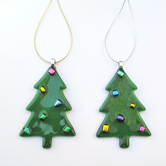 Unique Handcrafted Fused Glass Xmas Decoration, Glass Christmas Tree Ornament