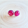 All that Glitters - Silver Plated Studs - Hot Pink