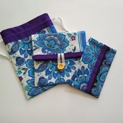 Organiser pouch set - Blue/purple paisley floral - Handbag accessory